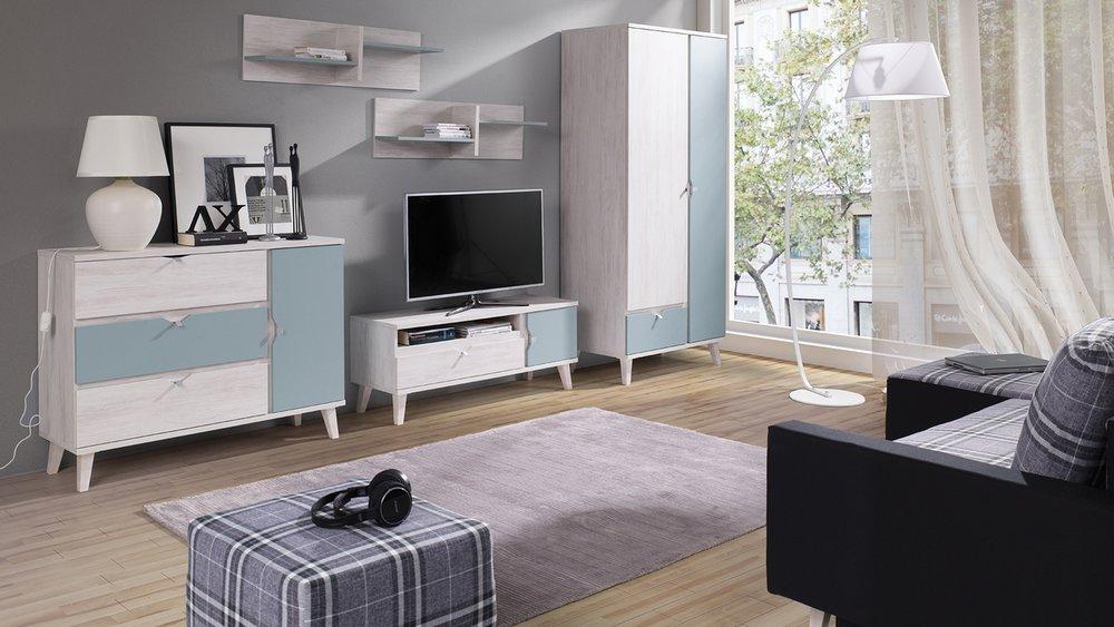 cdaa427cd obývacia izba MALMO 3, dub biely/modrá - ERA Nábytok